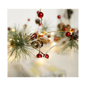 Red-berry-Christmas-Garland-Lights-LED-Copper-Fairy-lights-Pinecone-string-H1T5