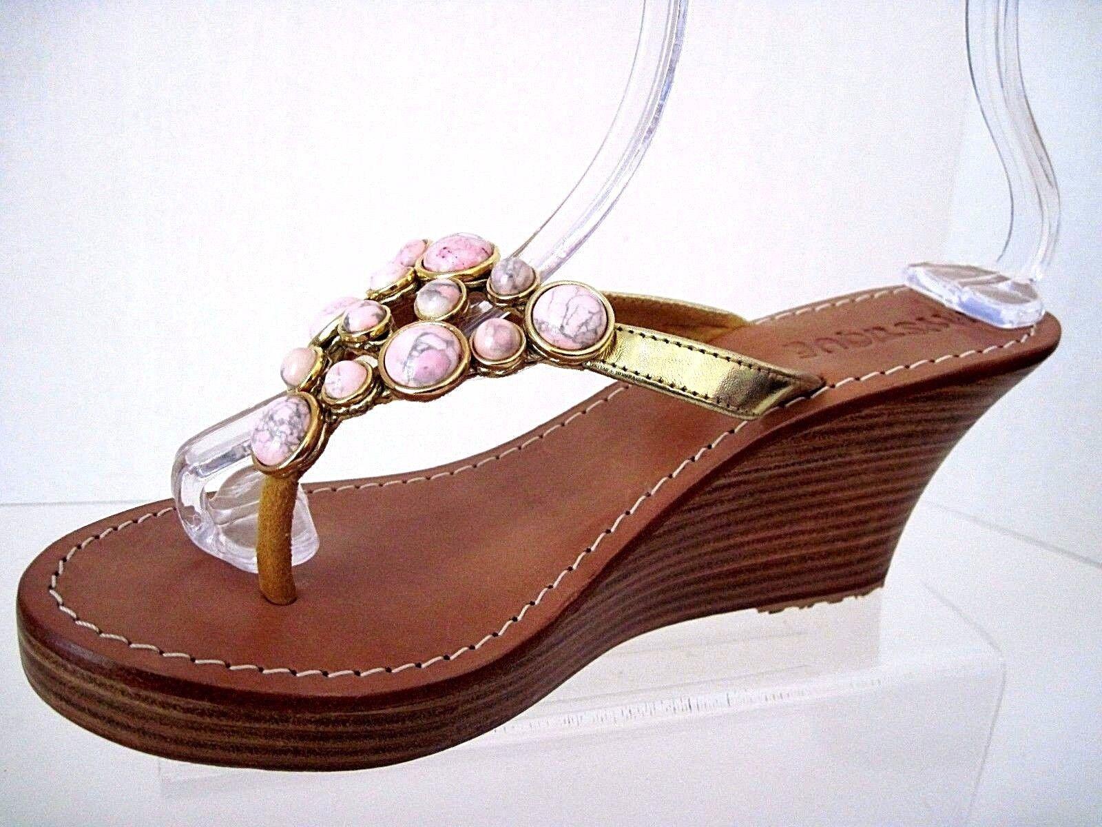 MYSTIQUE Gold Leder Pink Stones in Gold Wedge Tone Settings Wedge Gold Sandale Größe 8 04c1d6