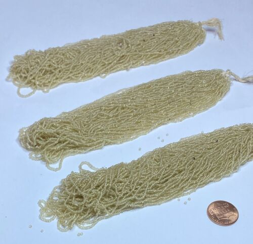 VERY RARE Antique Micro Seed Beads-14//0 Clear//Translucent Beige Parchment 37g