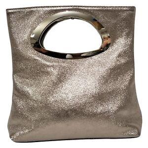Italian metallic gold calf leather tote// shoulder bag w// pouch ;Vittoria Pacini