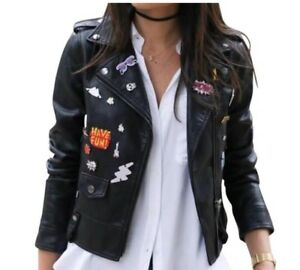 NWT-Zara-Cropped-Faux-Leather-Moto-Jacket-with-Novelty-Plaques-Black-Small