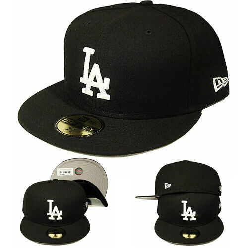 New Era MLB L.A Dodgers 5950 Fitted Hat League Basic Game Black White Cap