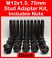 M12 X 1.5 75mm Stud Adapter Kit Para Renault Inc Tuercas Negro