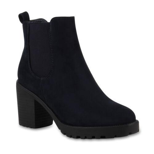 892794 Damen Stiefeletten Blockabsatz Chelsea Boots Profilsohle Trendy