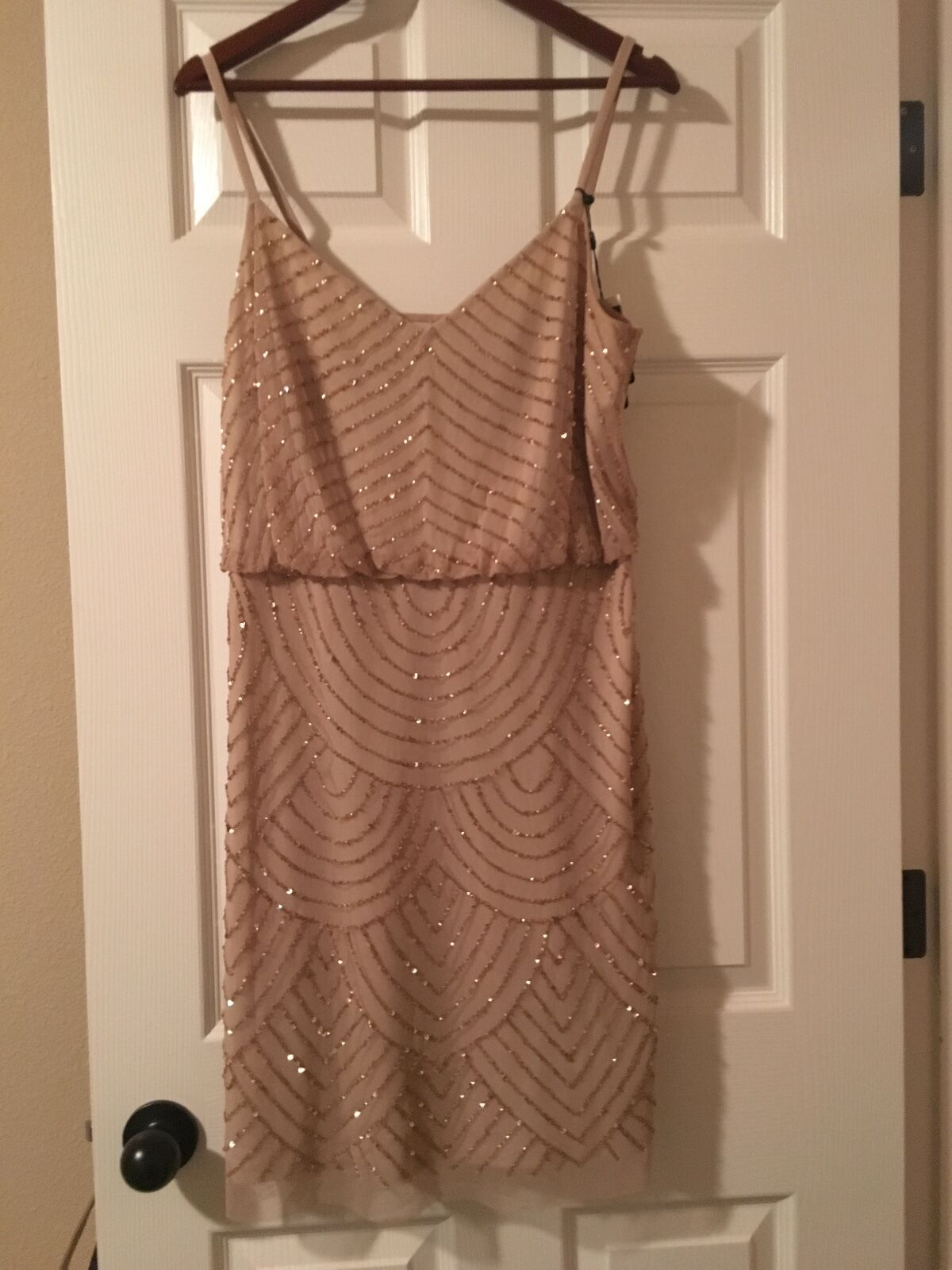 Adrianna Papell Champagne Beaded Blouson Dress- size 16