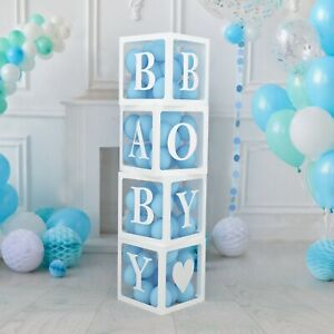 Baby Shower Decorations Boxes for Baby Boy and Girl 4 GOLD Clear Boxes