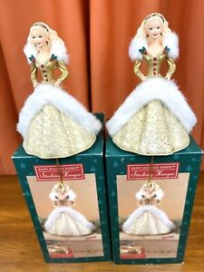 LOT-of-2-Happy-Holidays-Barbie-Christmas-Stocking-Hangers-in-Box-Vintage-1995