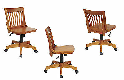 Lacquered Finish Mission Style Armless Banker Wood Swivel Desk Task Office Chair
