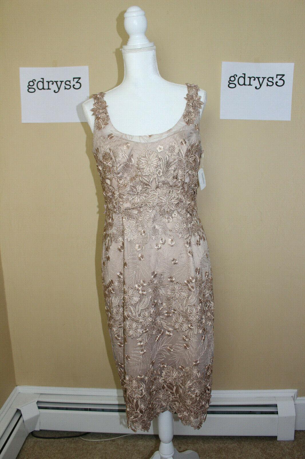 NWT Marchesa Notte Sleeveless Metallic Floral Sheath Dress, Nude Women's Sz 10