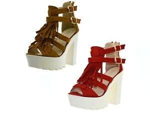 the latest 30e6f ad1bb Dettagli su Sandali donna spuntati scarpe con la zeppa estive tronchetti  aperti con tacco