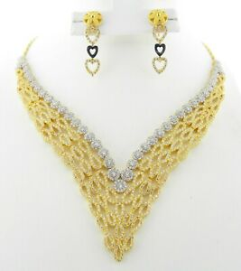 22ct Gold Necklace Set With Dangle Earrings Stunning Two Tone