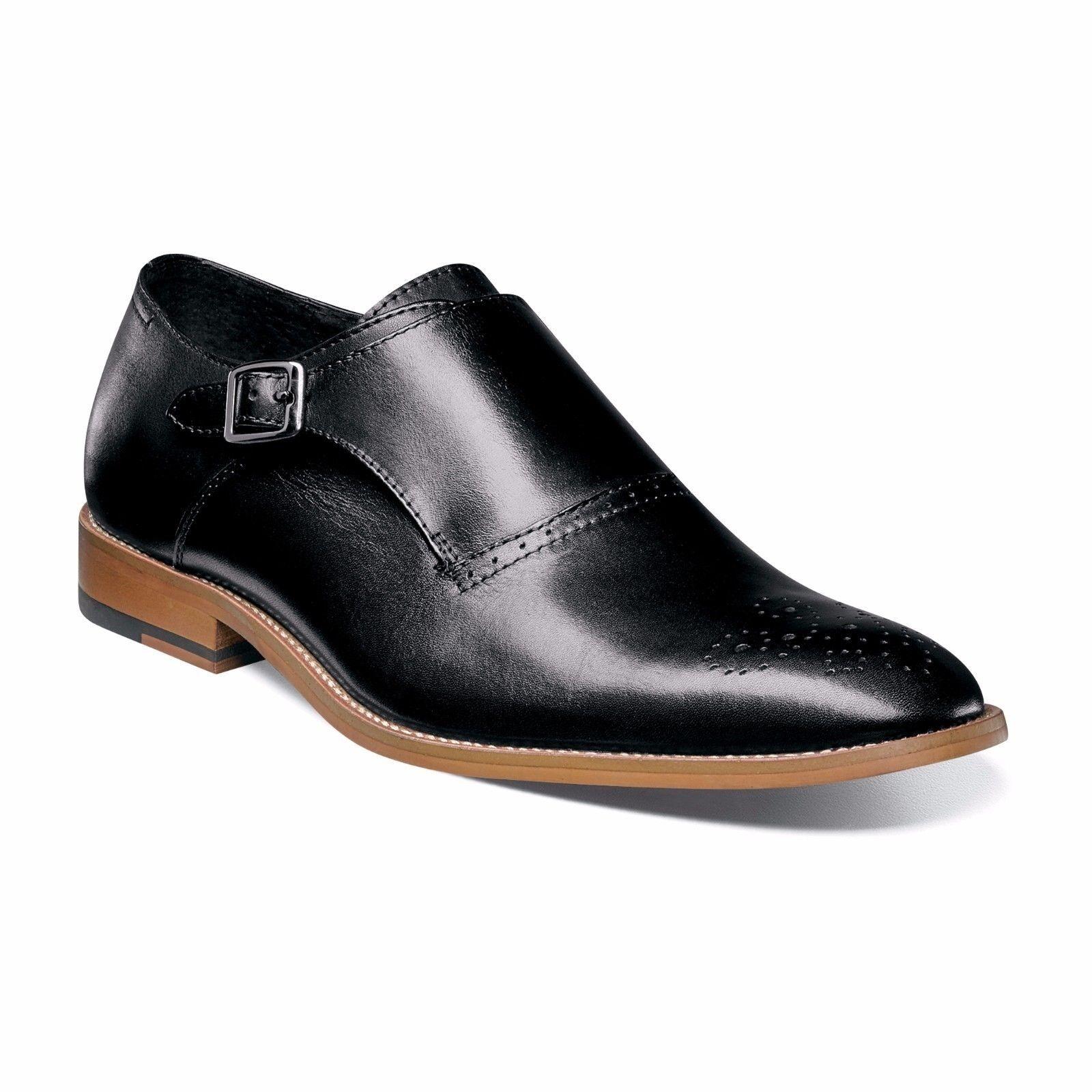 e90dbf97627 Stacy Adams Para Hombre Negro Cuero Plain Toe Dinsmore Monje Correa Vestido  Zapato de tendencias