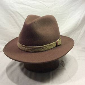 Brown Authentic Outdoor Design Men s Hat Hat with Light Brown Band ... 74c0aea5578