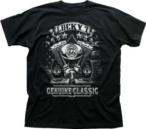 Lucky-7-Route-66-American-Classic-Harley-twin-mototrcycle-black-t-shirt-FN9426