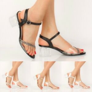 fe93e344be50c Image is loading Women-Summer-Fashion-Lucite-Rhinestone-Clear-Low-Chunky-