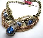 Betsey Johnson Crystal/giass/ceramic/pearl/skull charm bronze Necklace #490L
