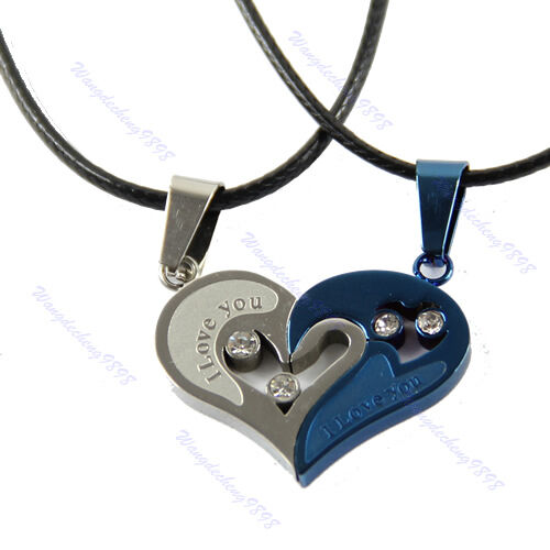 Chain Necklace Men Women Couple Stainless Steel I Love You Heart Pendant 1 Pair