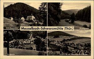 Meuselbach-Schwarzmuehle-DDR-Mehrbildkarte-1960-Hirschgrund-Bergbahn-HO-Gasthaus