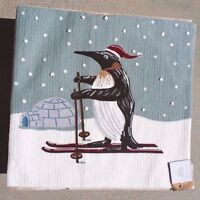 Pottery Barn Penguin Crewel Embroidered Christmas Pillow Cover