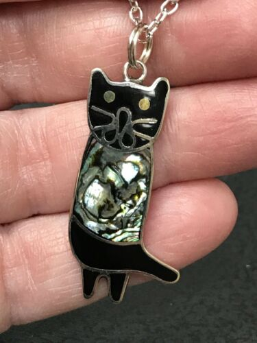Native American Cat Sitting Abalone Pendant Charm Sterling Silver D-1892R