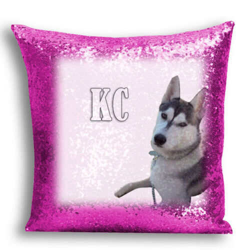 02 Personalised Image /& Name of Pet Dog Sequin Magic Cushion//Pillow Cover