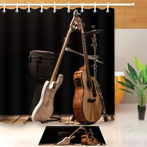 Image Is Loading Musical Instruments Guitar Drum Shower Curtain Set Bathroom