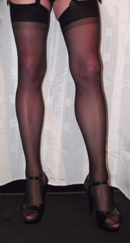 5 Pairs Black Sheer 20 Denier One Size Stockings plain vintage welt