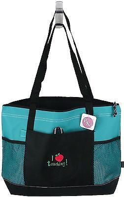 I Heart Teaching Bag Gemline Teal Zipper Tote Apple Teacher Monogram School Gift