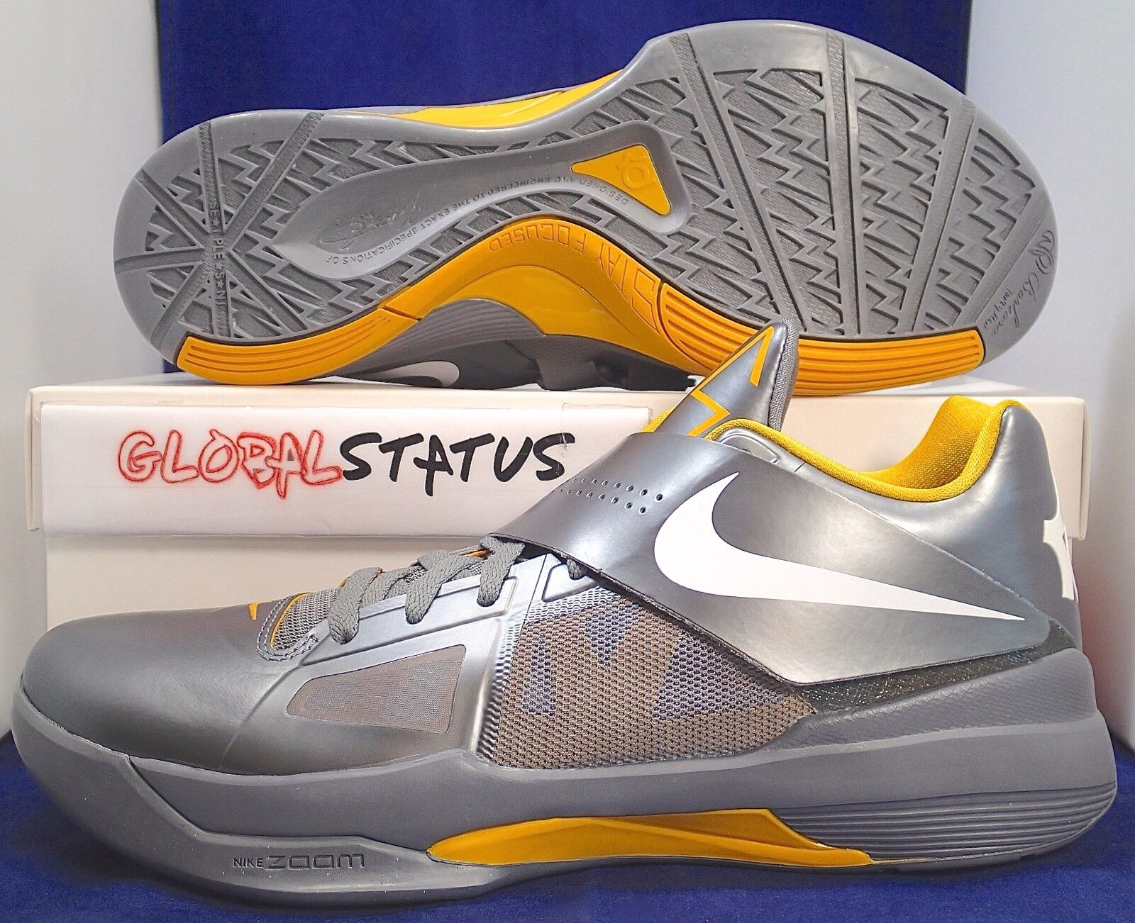 2011 NIKE KD IV 4 DEL SOL COOL GREY YELLOW BASKETBALL SHOES 473679 007 SIZE 11