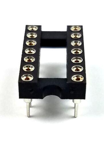 20PCS IC Sockets DIP-14 Machined Round Contact Pins Holes 2.54mm DIP14 DIP 14