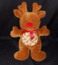 RUSS BERRIE BABY CHRISTMAS REINDEER CANDY CANE RATTLE STUFFED ANIMAL PLUSH TOY