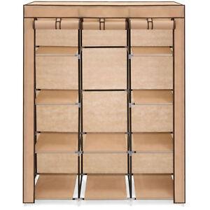 10-Shelf-Tan-Portable-Clothes-Shoe-Rack-Closet-Storage-Organizer-System-Cover