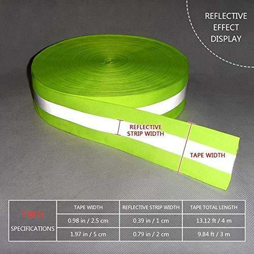 Green High Visibility Reflective Tape Strip Fabric Florescent 0.98in*0.39in