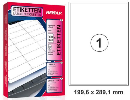 100 Universal Drucker-Etiketten 199,6 x 289,1 A4 Weiß 100 Bogen A4 HEISAP 31