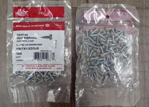 "Malco Clay Zip Screws Self Piercing Sheet Metal Screws 7 x 1//2/"" 100qty"