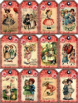 "12 ""VALENTINE"" VINTAGE CHILDREN SCRAPBOOK PAPER CRAFT HANG GIFT TAGS LAMINATED"
