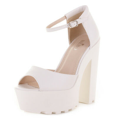 Para Mujer Plataforma bloque Tacón Grueso correa de tobillo Peep Toe De Sandalias Zapatos Talla 3-8