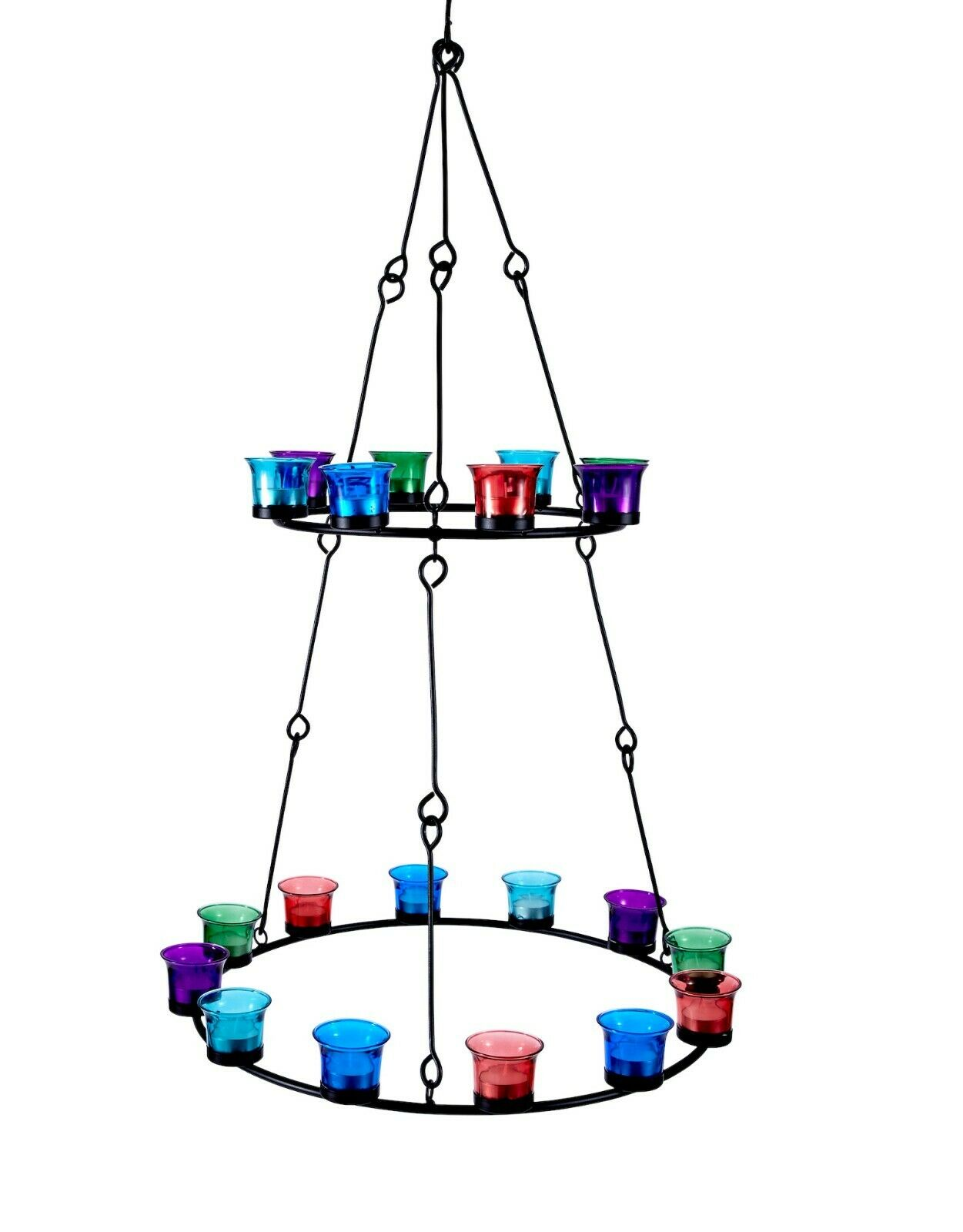 Tea Light Chandelier (Double Tier) Multi Coloured  Glass by Bell Tent Boutique  export outlet