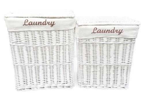Wicker Rectangle Laundry Basket Washing Bin Lidded With Laundry Word on Lining
