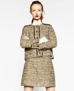 design di qualità c7309 d2b37 Dettagli su Zara Oro Metallizzato Luccicante Tweed Mini Gonna con / Frangia  ~ Misto Cotone ~