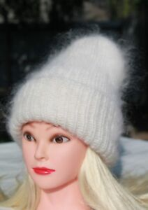 Hat warm HandKnitted Mohair Goat Down Thick Beanie Cap DOUBLE ... 8664038c30ef