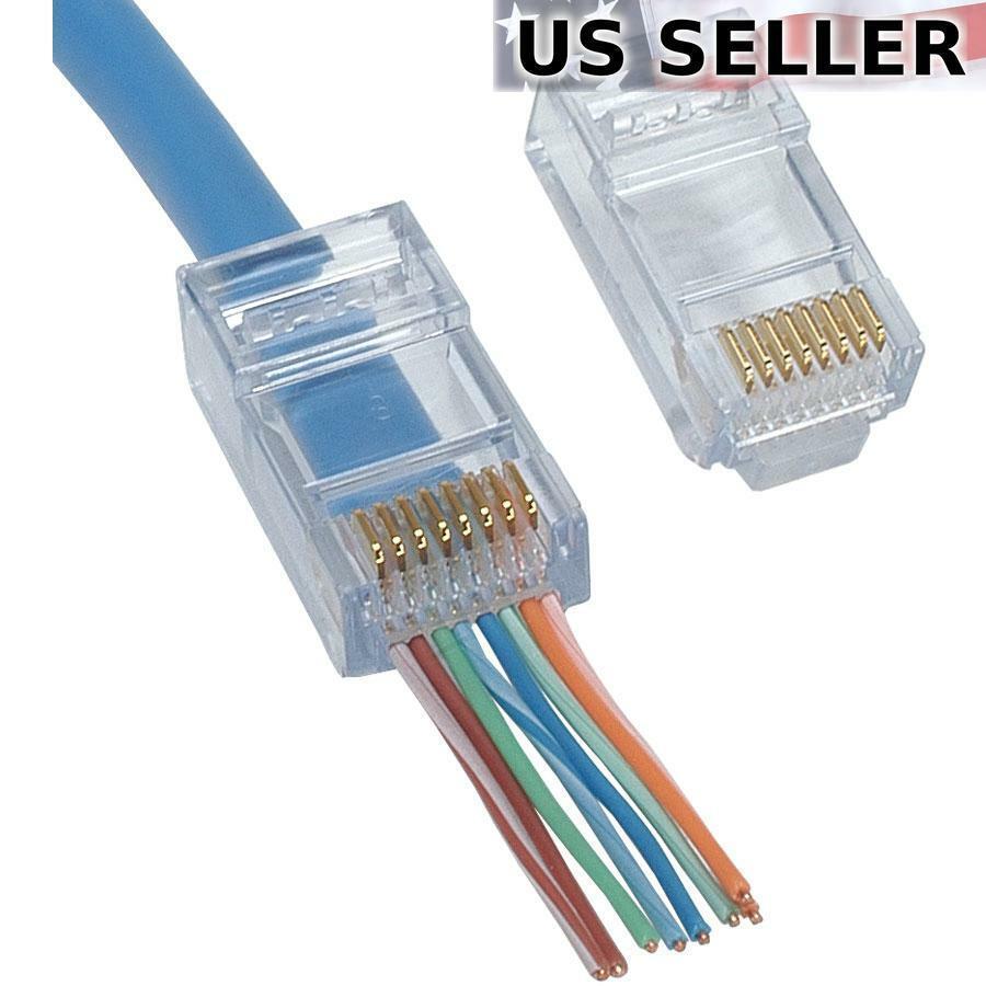 100pc EZ RJ45 Network Cable Modular 8P8C Connector End Pass Through cat6 cat5e