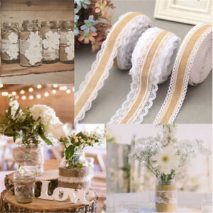 2M Burlap With Lace Natural Hessian Ribbon Trim Edge Wedding Rustic width 2.5cm