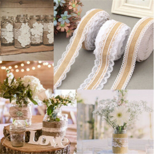 Jute Burlap Natural Hessian Ribbon With Lace Trim Edge Wedding Rustic Decoration