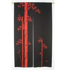 Noren Kyoto / Bamboo Black Red / Japanese Door Curtain Divider SE 85 x 150cm