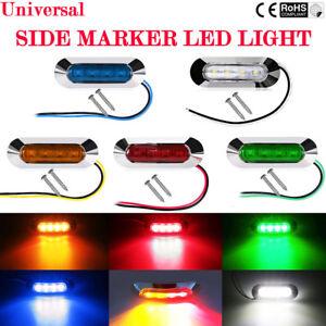 2-4-10X-4-LED-12V-24V-TAIL-SIDE-LIGHT-MARKER-LAMP-CHROME-BEZEL-CAR-TRUCK-TRAILEI