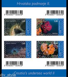 Undersea II Marine Life minisheet of 4 stamps mnh Croatia 2015 Sea Horse Anemone