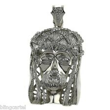 Jesus Piece Silver Platinum Tone Big Pendant Iced-Out Chunky Huge Hip Hop Charm
