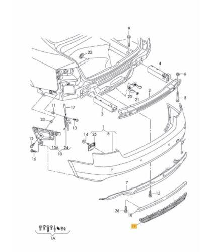 NEW GENUINE AUDI A5 08-11 S LINE REAR BUMPER DIFFUSER TRIM GRILL 8T080783301C