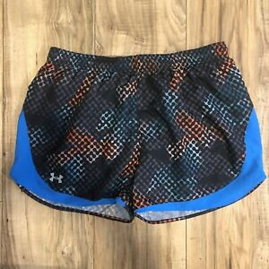 NWT-Under-Armour-Women-039-s-Heat-Gear-Black-Blue-Semi-Fitted-Running-Shorts-Size-L